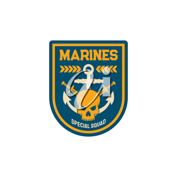 Maritime forces patch on uniform with sword anchor, dead mariner skull isolated special squad emblem. Vector marines special squad with naval symbols maritime military chevron navy officer patch