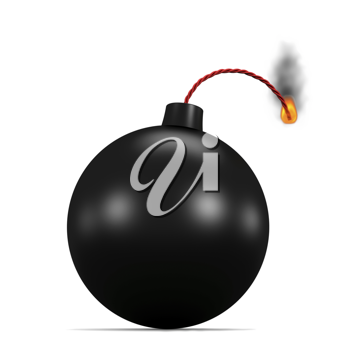Royalty Free Clipart Image of a Lit Bomb