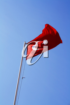 The National Flag of the Republic of Turkey on mast
