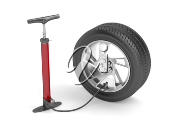 Air pump and car tire on white background