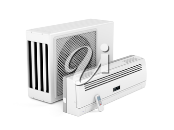 All parts of modern split system air conditioner on white background