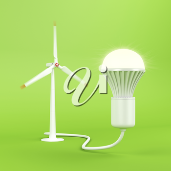 Generating electricity with wind turbine for the light bulb to glow