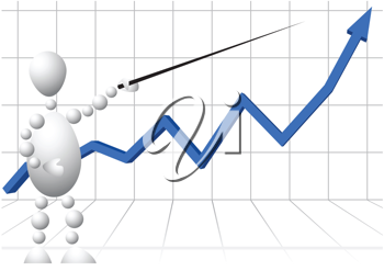 Royalty Free Clipart Image of a Man With a Pointer at a Chart