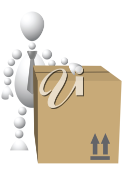 Royalty Free Clipart Image of an Android With a Carton
