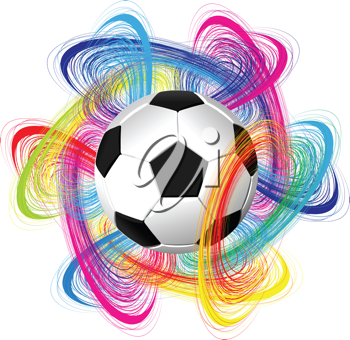 Royalty Free Clipart Image of an Abstract Background With a Soccer Ball