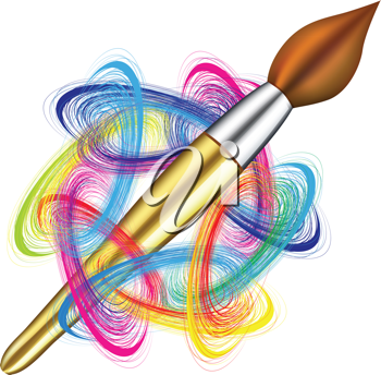 Royalty Free Clipart Image of a Paintbrush and Colours