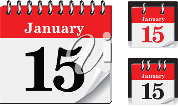 Royalty Free Clipart Image of a Calendar Showing January 15