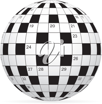Royalty Free Clipart Image of a Crossword Puzzle in a Globe Shape