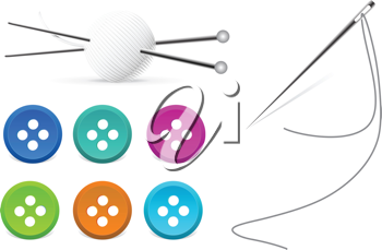 Royalty Free Clipart Image of Needles, Thread and Buttons