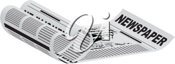 Royalty Free Clipart Image of a Newspaper Page Rolled Into a Heart