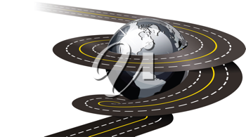 Royalty Free Clipart Image of a Road Around a Globe