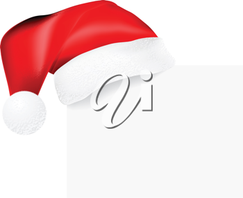 Royalty Free Clipart Image of a Santa Hat on a Blank Card