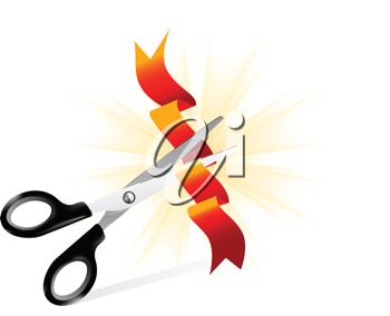 Royalty Free Clipart Image of Ribbon Cutting