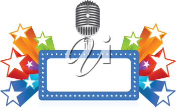Royalty Free Clipart Image of a Marquee and Microphone