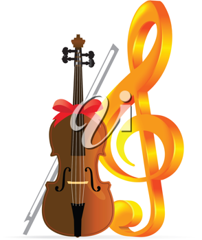 Royalty Free Clipart Image of a Cello and Treble Clef