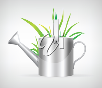 Royalty Free Clipart Image of a Watering Can and Grass