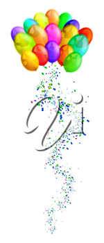 Royalty Free Clipart Image of Balloons and Confetti