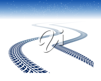 Royalty Free Clipart Image of Tire Tracks in Snow