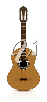 Classical guitar on white background.  Vector illustration