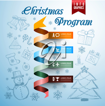 Christmas vector infographics with drawing background