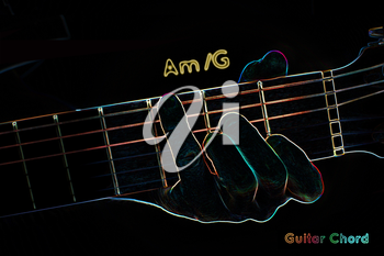 Guitar chord on a dark background, stylized illustration of an X-ray. Am/G chord