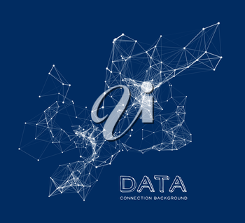 Abstract network connection. Vector technology background on dark blue