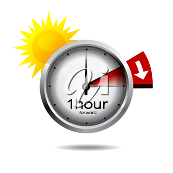 Vector illustration of a clock switch to summer time daylight saving time begins.