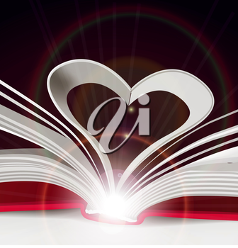 Heart from book pages. Vector close-up illustration