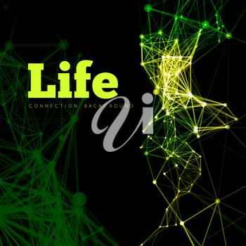 Life vector illustration of cells connected in microbiology