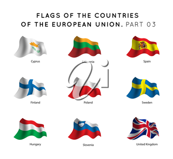 Vector Waving Flags of EU countries on a white background. Part 03
