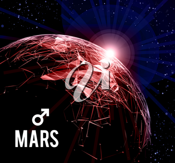 The planet Mars. Vector illustration on dark background. Mars in astrology symbolizes vigor, courage, determination.