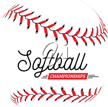 Softball ball on white background. Vector illustration can be used for emblem, badge, etc.
