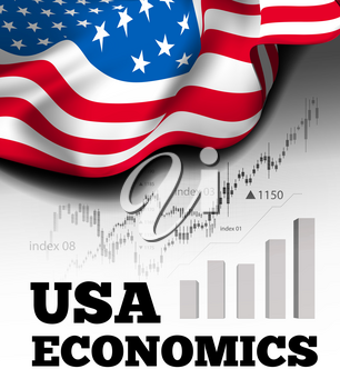 American economics vector illustration with flag of the USA and business chart, bar chart stock numbers bull market, uptrend line graph symbolizes the growth up