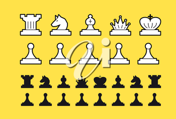 A chess set that includes itself, a pawn, a horse, a rook of the king, a queen