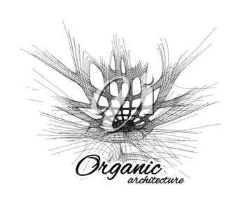 Organic architecture. The concept of unity with nature including smooth lines and transitions. Vector illustration on white background