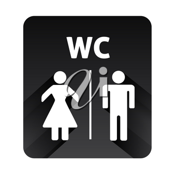 Male and Female icons vector illustartion on black background. Toilet Sign, WC sign