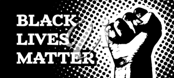 Black lives matter. Vector illustration with hand on black