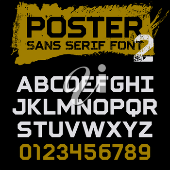 Poster Geometric font / Vintage vector typeface for headlines, posters, labels and other uses / Uppercase letters and numbers on a grunge background / Sans serif