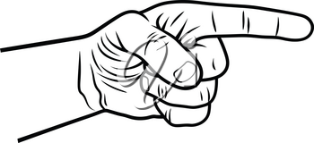 Pointing hand. Vector illustration of a pointing finger. Hand-drawn sketch