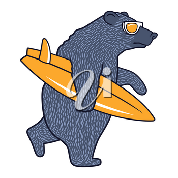 Bear with Sunglasses and Surfboard for child t-shirt. Surfing Graphic Tee for kids. Funny illustration on the theme of surfing and summer vacation