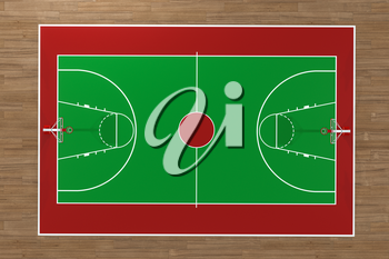Top view of basketball court with wooden floor, 3d rendering. Computer digital drawing.