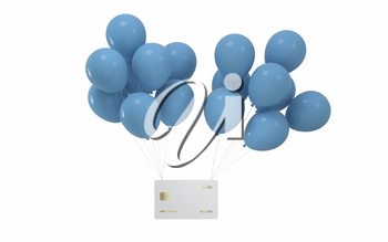 Balloons and bank card with white background, 3d rendering. Computer digital drawing.