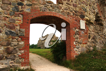 Royalty Free Photo of an Archway and Castle Ruins