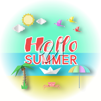 Hello Summer Conceptual Paper Art Banner, Origami Unusual Elegant Elements with Text, Unusual Decorative Stylish Background, 3D Cut Paper Objects, Vector Illustration Art Design