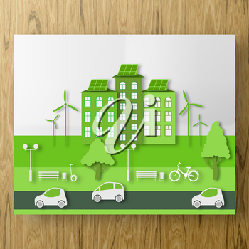 Paper Ecology Green Concept of City Life with Cut Tree, Building, Automobile. Bike and GyroScooter ride in the Eco Park. Cutout Plan Template for Banner, Card, Poster. Vector Illustrations Art Design.