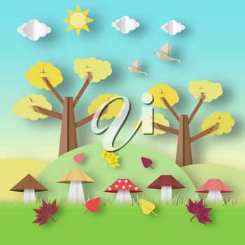 Autumn Origami Landscape with Clouds, Sun, Mushrooms, Leaves, Birds, Trees, Crafted Abstract Paper Concept. Cut Applique with Elements. Beautiful Cutout Template. Vector Illustrations Art Design.