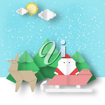 Christmas paper landscape. Winter scene origami Santa Claus and reindeer is coming for Xmas. Vector holiday background.