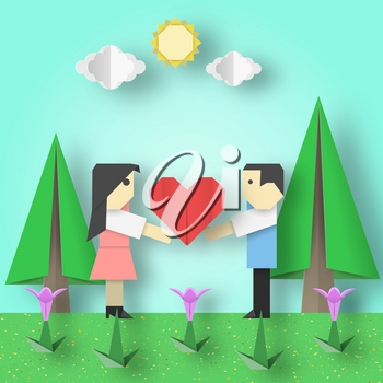 Cut Scene with Couple, Big Hearts, Sun, Sky, Clouds, Trees, Flowers it is Happy Love Paper Origami Crafted World for Valentine's Day Romantic Card. Papercut Vector Illustrations Art Design.