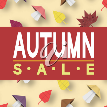 Paper Origami Autumn Sale Discount Card for Fall Time. Cut Elements with Typography Text illustrate the Hot Advertising Voucher. Papercut Style. Cutout Trend. Vector Graphics Illustrations Art Design.
