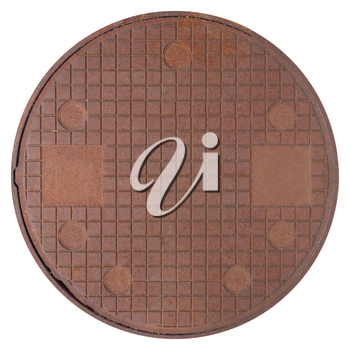 rusted steel manhole isolated over white background